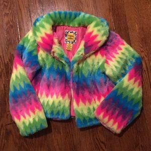 Faux fur multicolored striped jacket.